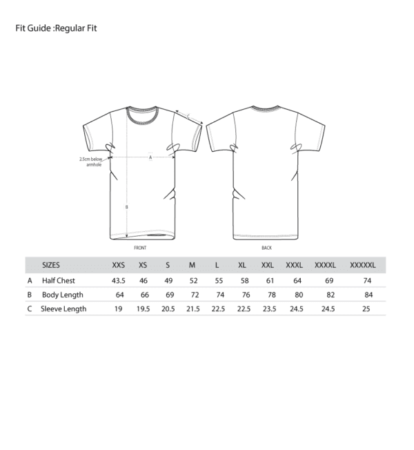 Fit Guide Information - adult tee