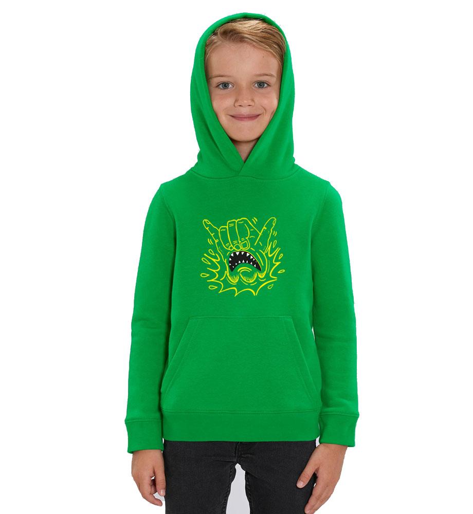 boy in hoodie-green-shaka-front